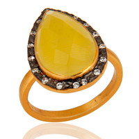 925 Sterling Silver Yellow Moonstone Gemstone Jewelry Ring With 24K Gold Vermeil