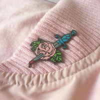 Pink Bleeding Rose Enamel Pin