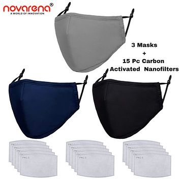 NOVARENA 3 Unisex Black/Gray/Navy Blue Cloth Face Masks + 15 Pcs Filters - Washable & Reusable - Adults - Cotton - with Filter - Unisex Protective Adjustable and Reusable Dust Cotton Cover