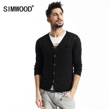 2016 New Arrival Simwood Brand Men Sweater Thin V-neck Slim Fit Casual Knitted Cardigan Mens Free Shipping MY2004