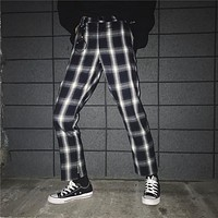 Vintage Plaid Casual Trousers With Metal Buckle