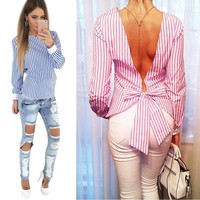 Backless Bandage Sexy Women Shirt Blouse Large Size Long Sleeve Striped Elegant Cute Shirts For Women 2016 Summer Blouses Top