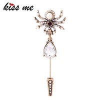 KISS ME Crystal Waterdrop Skull Spider Brooches for Women Personalized Fashion Insect Vintage Pins Accessories