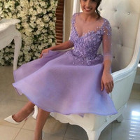 2016 Purple Short Three Quarter Sleeve Girl Lady Cocktail Vestidos Gown With Appliques Button Back Princess Short Prom Dress
