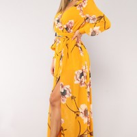 Park Avenue Maxi Dress - Mustard/Blush