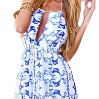 Blue And White Tapestry Print Romper