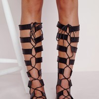 LACE UP KNEE HIGH FLAT GLADIATOR SANDALS BLACK