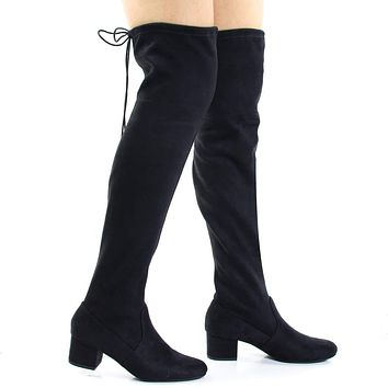 Jupiter By Soda, Top Tie, Over Knee, Thigh High, Block High Heel Pull On Slouch Boots
