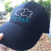 Hand Embroidered Baseball Cap with Rain Cloud Design