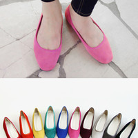Solid Color Suede Flats - Miamasvin loves u! Womens Clothing. Korean Fashion.