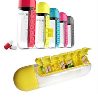 Outdoor portable Water Bottle With Pill Dispenser What A Lifesaver sport
