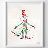 Dr. Seuss Print, Doctor Seuss, Cat in the Hat, Watercolor, Wall Art, Nursery Posters, Artwork, Dorm Decor, Mothers Day Gift
