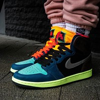 "Air Jordan 1 Retro High OG ""Bio Hack"" color stitching high-top basketball shoes"