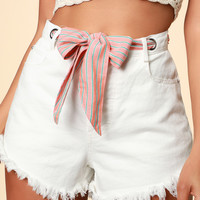 Havana White Denim Ribbon Belt Cutoff Shorts