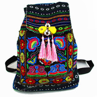 Tribal Vintage Hmong Thai Indian Ethnic Embroidery Bohemian rucksack Boho hippie ethnic bag backpack bag L size SYS-170B