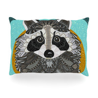 "Art Love Passion ""Racoon in Grass"" Gray Teal Oblong Pillow"