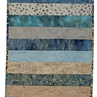 Quilted Table Runner in Aqua Batik