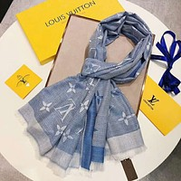 Louis Vuitton LV Classic Popular Woman Easy To Match Cashmere Scarf Shawl Silk Scarf Blue I-YH-FTMPF
