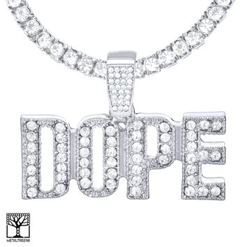 """Jewelry Kay style Men's Icy DOPE Sign Silver Plated Pendant 24"""" Stone Chain Necklace THC 1904 S"""