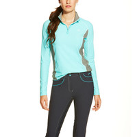 Ariat Ladies Tri Factor 1/4 Zip Shirt - Miami Aqua