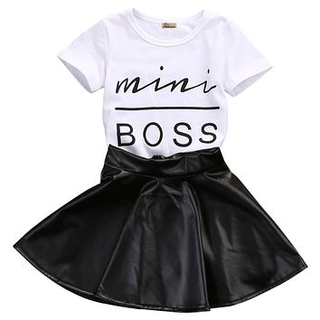 Summer Kid girls clothes Casual Clothing Sets Mini Boss Baby Girls Kids Clothes Set