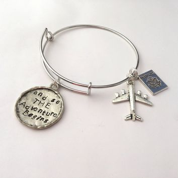 Travel themed charm bracelet, adjustable bangle