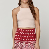 LA Hearts Smocked Knit Swing Skirt - Womens Skirt - Red