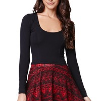 LA Hearts Tribal Sweater Skater Skirt - Womens Skirt - Red
