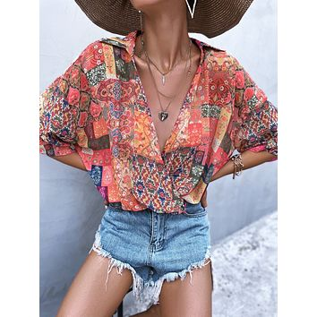 Floral Print Batwing Sleeve Surplice Front Blouse