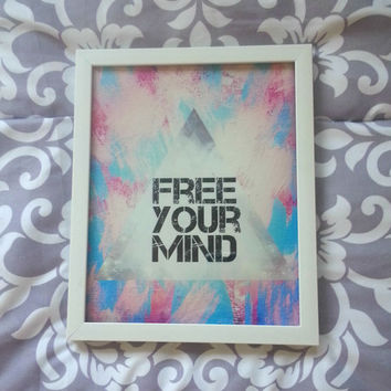 Free your mind inspirational quote 8.5 x 11 inch art print for baby nursery, dorm room, or home decor