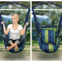 Blue Green Bohemian Boho Cushioned Hammock Hanging Chair