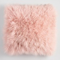 Blush Mongolian Lamb Fur Throw Pillow