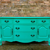 Vintage French Provincial Buffet In Spearmint