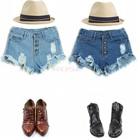 Summer Feminino Cool Hole Denim Shorts Women's Short Jeans Pants High Waitst Vintage Button fly Hot Pants SV002567