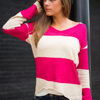 With Love Sweater, Fuchsia-Oatmeal
