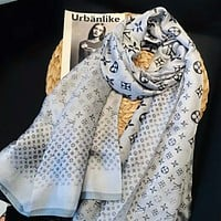 LV Louis Vuitton Popular Easy To Match Monogram Smooth Silk Scarf Shawl Accessories Grey I-TMWJ-XDH