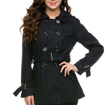 Double Breasted Peacoat W/ Sash Belt