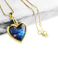 Christmas Gift - Handmade Resin Midnight Blue Cosmic Galaxy Vintage Brass Heart-shape Picture Locket Pendant Necklace  (Get 12% OFF)
