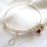 Alex and Ani Style Infinity Bracelet -- Sterling Silver, Birthstone, Initial, Bride/Bridesmaid Jewelry, Hand Stamped -- MADE TO ORDER