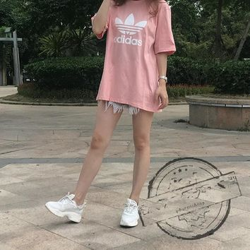 """""""Adidas""""Fashion Casual Clover Pattern Letter Round Neck Short Sleeve T-shirt"""