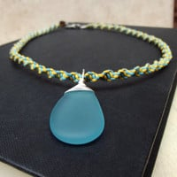 Bohemian Necklace:  Yellow & Turquoise Blue Twisted Macrame Cord Unisex Necklace, Silver Wire Wrapped Sky Blue Sea Glass Pendant