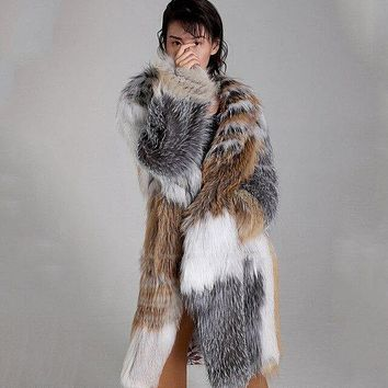 Brown and Silver Knitted Real Fox Fur Coat With Silver Fox Marble Fox fur long Female Outwear