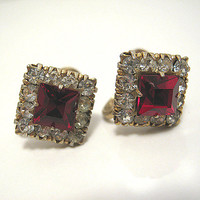 Vintage Red Rhinestone Earrings Vargas Gold Tone Screw Back Womens Formal Jewelry Bling Glitz Glam Mid Century