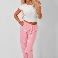 Sweet Dream Pink Star Print Sweat Pants | Pink Boutique
