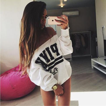 Off Shoulder Black And White Sweater 13193