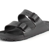 Birkenstock Unisex Arizona Essentials EVA Metallic Anthracite Sandals - 40 Narrow EU
