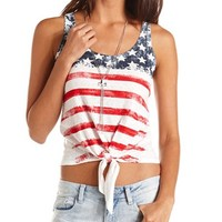 Americana Tie-Front Tank: Charlotte Russe