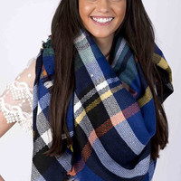 Lucky Duck Pretty in Plaid Blanket Scarf in Royal