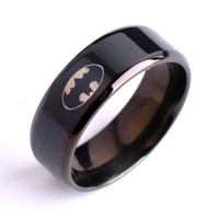 Unisex Men Women Ring Black Batman Titanium 316L Stainless Steel Polished Ring