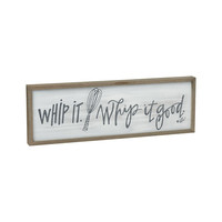 Whip It Whip It Good -- Framed Barn Wood Box Sign with Vintage Weathered Finish